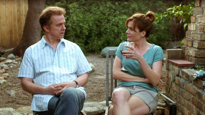 Michael O'Keefe as SAM and Catherine Dent as his wife, MARY, in FINDING NEIGHBORS.